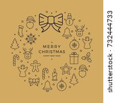 christmas wreath icons elements ... | Shutterstock .eps vector #732444733