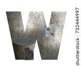 metal alphabet letter w | Shutterstock . vector #732444997