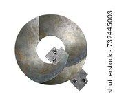 metal alphabet letter q | Shutterstock . vector #732445003