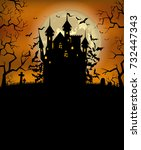 halloween background with scary ... | Shutterstock .eps vector #732447343