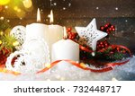 candels with christmas... | Shutterstock . vector #732448717