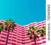 palms and hotel.  life in pink. ... | Shutterstock . vector #732463063