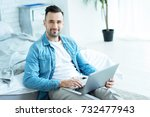 cheerful millennial guy looking ... | Shutterstock . vector #732477943