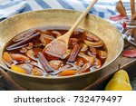 copper basin with jam from...
