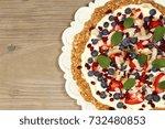 granola fruit breakfast pizza...   Shutterstock . vector #732480853