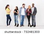 friends meeting on white... | Shutterstock . vector #732481303