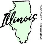hand drawn illinois state design | Shutterstock .eps vector #732492043
