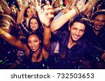 flying colours against people... | Shutterstock . vector #732503653
