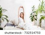 portrait pretty young girl... | Shutterstock . vector #732514753