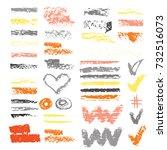 chalk vector textures.... | Shutterstock .eps vector #732516073