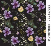 embroidery floral seamless... | Shutterstock .eps vector #732517393