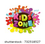 kids zone colorful banner.... | Shutterstock .eps vector #732518527