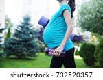 beautiful young pregnant woman... | Shutterstock . vector #732520357