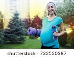 sports for moms. beautiful... | Shutterstock . vector #732520387