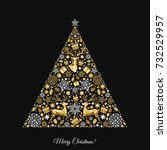 Christmas Tree. Gold  Pattern....