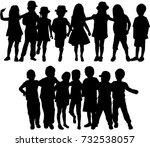 vector silhouette of children... | Shutterstock .eps vector #732538057