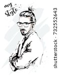 stylish hand drawn man. fashion ... | Shutterstock .eps vector #732552643