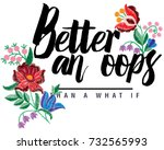 floral embroidery slogan | Shutterstock .eps vector #732565993