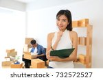 asian small business owner at... | Shutterstock . vector #732572527
