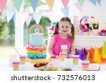 kids birthday party with... | Shutterstock . vector #732576013