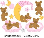 vector set for baby girl shower.... | Shutterstock .eps vector #732579547