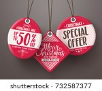 red christmas sale tags vector... | Shutterstock .eps vector #732587377