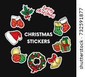 a set of christmas objects   a... | Shutterstock .eps vector #732591877