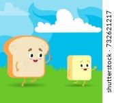 the bread runs after the butter ... | Shutterstock .eps vector #732621217