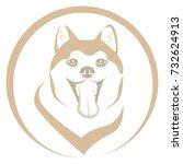 dog head round icon vector.... | Shutterstock .eps vector #732624913