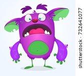 scared funny cartoon monster.... | Shutterstock .eps vector #732641077