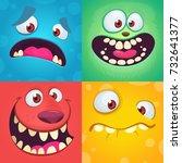 cartoon monster faces set.... | Shutterstock .eps vector #732641377