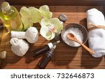 spa setting with orchid and mat ... | Shutterstock . vector #732646873