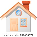 small house with chimney vector ... | Shutterstock .eps vector #732653377