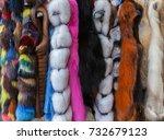 multicolored fur coats on...   Shutterstock . vector #732679123