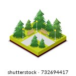 park road and pine trees... | Shutterstock .eps vector #732694417
