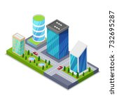 modern city district isometric... | Shutterstock .eps vector #732695287