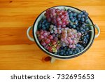 red and white grapes on wooden... | Shutterstock . vector #732695653