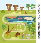 zoo infographic map with... | Shutterstock .eps vector #732726073