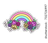 cute rainbow with flowers on a... | Shutterstock .eps vector #732726997
