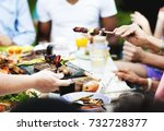 group of people having bbq... | Shutterstock . vector #732728377