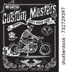 vintage motorcycle and skeleton ...   Shutterstock .eps vector #732729397