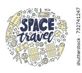 space travel vector... | Shutterstock .eps vector #732741247