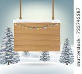 christmas hanging wood board... | Shutterstock .eps vector #732742387