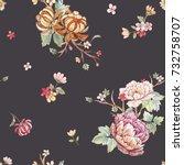 Stock photo watercolor floral pattern peony flowers orange chrysanthemum leaves and sakura branches 732758707