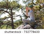 meditation  woman in lotus...   Shutterstock . vector #732778633