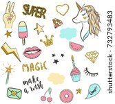 cute magic set for design with... | Shutterstock .eps vector #732793483