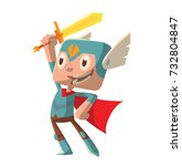 vector cartoon image of a funny ... | Shutterstock .eps vector #732804847