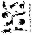 set of funny cartoon black cats ...   Shutterstock . vector #732805267