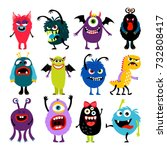 cute cartoon colorful mosters... | Shutterstock .eps vector #732808417