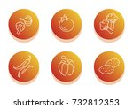 vegetable icon set. flat line... | Shutterstock .eps vector #732812353
